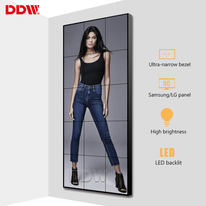 Ultra Narrow Multi Display Video Wall , Store Advertising Vertical Video Wall Screen